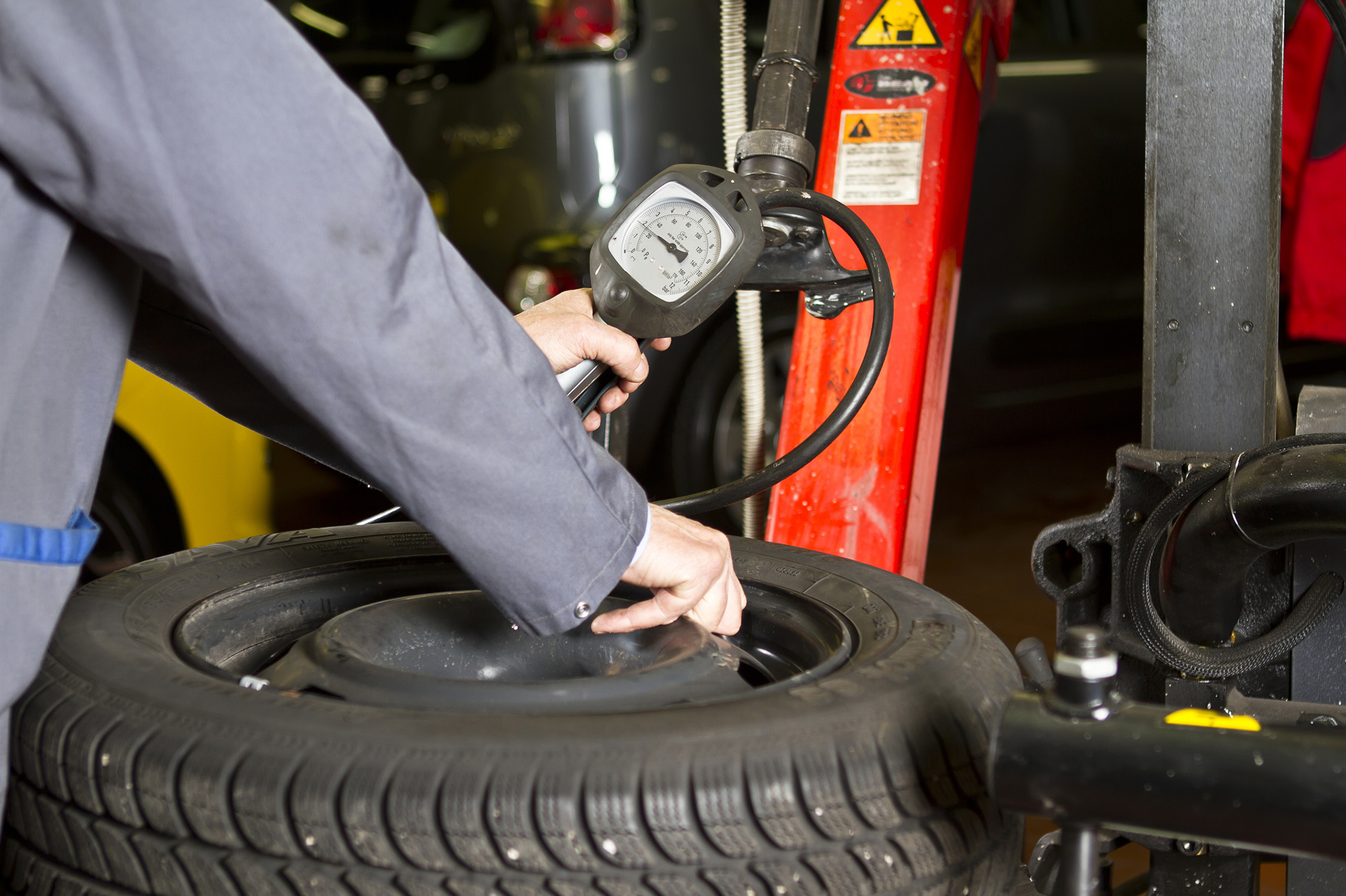 Car Tyre Pressure at the car shop